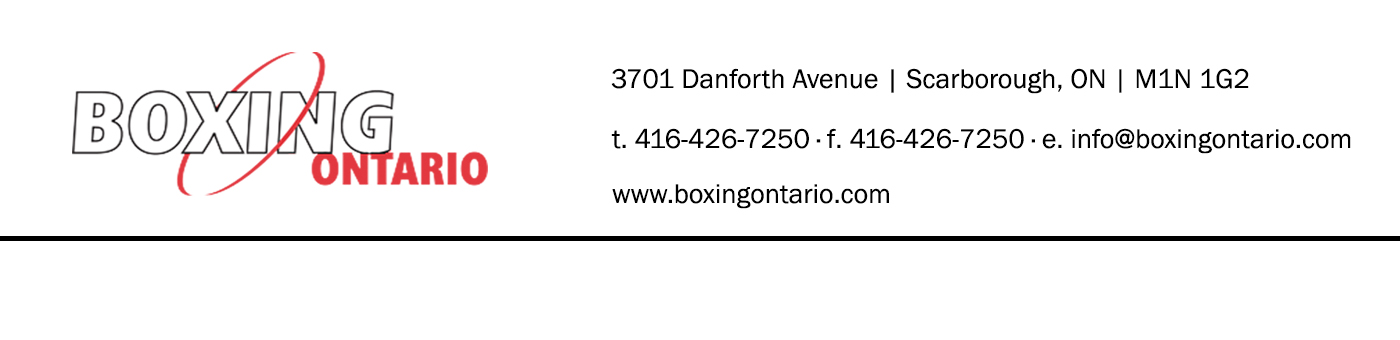 Boxing Ontario Sanction Header
